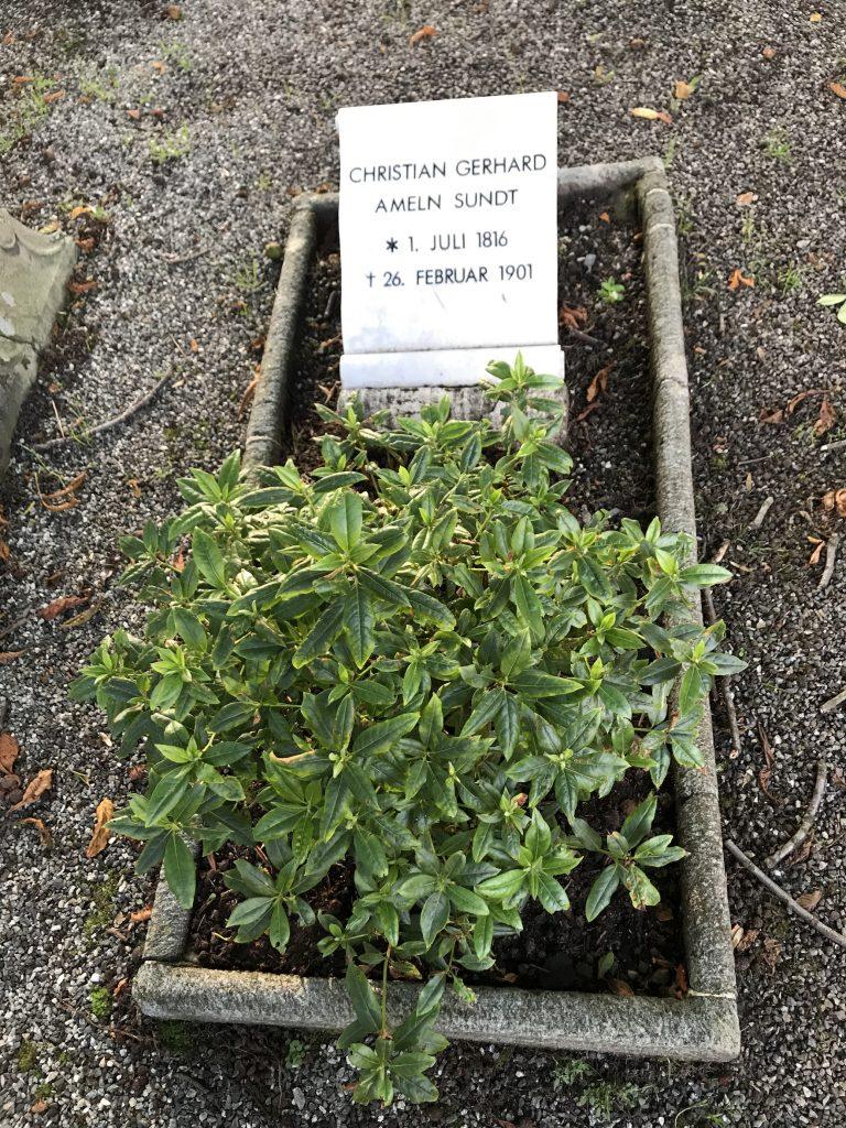 Christian Gerhard Ameln Sundt sitt gravminne på Møllendal kirkegård