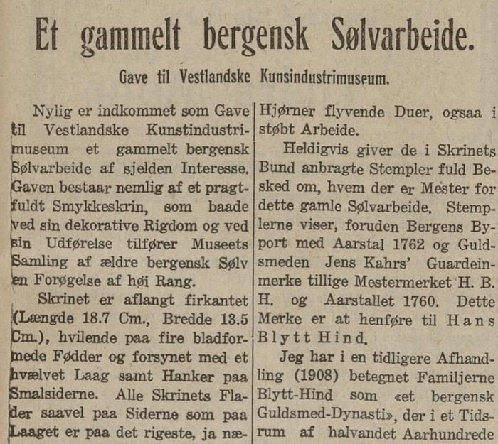 Hans Blytt Hind Kalfaret Bergen