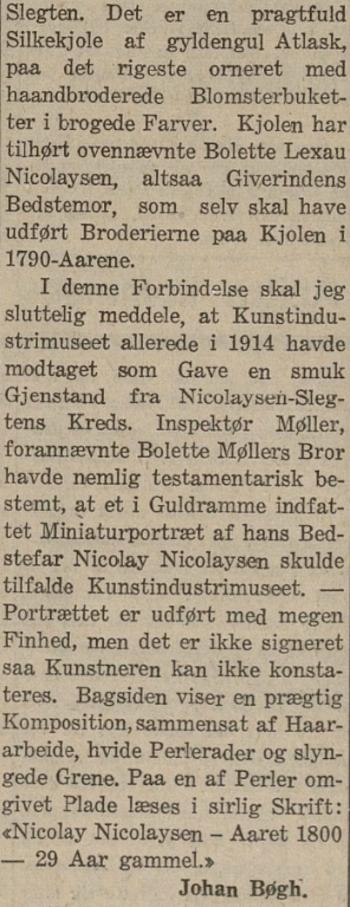 Skrinet Lyder Wenzel Nicolaysen Kalfaret