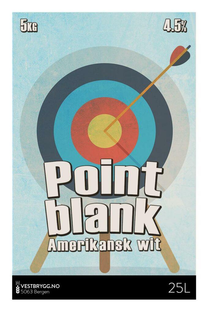Fjellsiden ølbryggerlag - etikett av Vestbrygg Point blank Amerikansk Wit