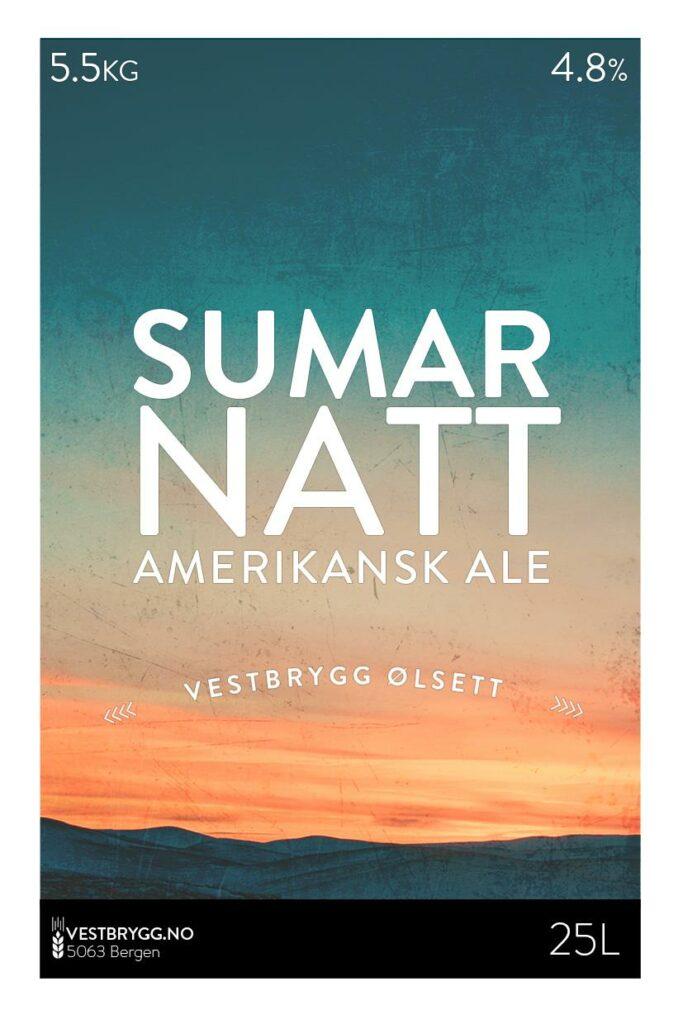 Fjellsiden ølbryggerlag - etikett av Vestbrygg Sumarnatt Amerikansk Ale