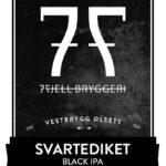 Fjellsiden ølbryggerlag - etikett av 7 Fjell Svartediket Black IPA