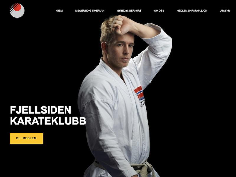 Fjellsiden - bilde av hjemmesiden til Fjellsiden Karateklubb