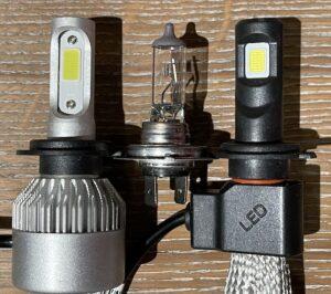 Fjellsiden MC - bilde av to LED-pærer og en halogenpære